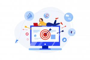 Illustration du contenu marketing avec une femme sur un ordinateur qui créé une stratégie