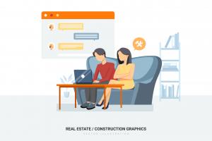 Illustration du buyer persona avec un homme et d'une femme qui achètent sur un site de contenu