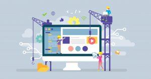Illustration du référencement naturel avec 3 hommes en train de construire un site web