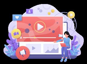 Illustration du content marketing et de la vidéo avec une femme devant un ordinateur qui montre une vidéo marketing