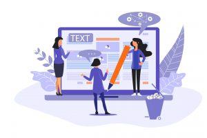 Illustration du content marketing avec 3 femmes devant un ordinateur qui créent un contenu
