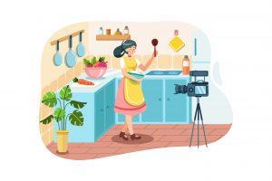 Dessin d'une femme en train de se filmer dans sa cuisine pour optimiser le SEO de son site web