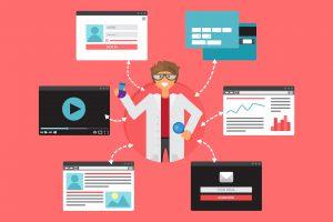 Illustration du référencement naturel SEO avec un chercheur et des liens ou backlinks