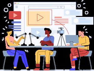 Illustration pour bien débuter sur Youtube avec des personnes qui réalisent une vidéo pour leurs réseaux sociaux